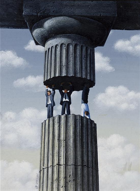 Rafal Olbinski, (Polish, b. 1943), The Supporting Folks, 1988