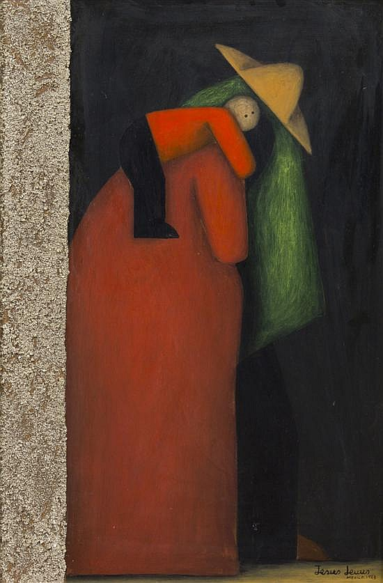 Jesus Mariano Leuus, (Mexican, b. 1948), Shadowed Figure Carrying Child, 1968