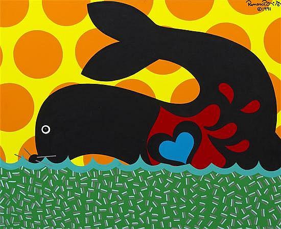 Romero Britto, (Brazilian, b. 1965), Seal Pup, 1991