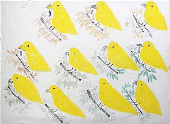 Lee Godie, (American, 1908-1994), #11 Birds on this