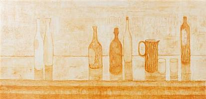 Arthur Thrall, (American, b. 1926), Bottles, Glasses and Pitcher, 1953