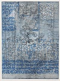 Arthur Thrall, (American, b. 1926), Blue Manuscript