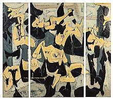 Ezio Martinelli, (American, 1913-1981), Untitled E.M.4, 1949 (triptych)