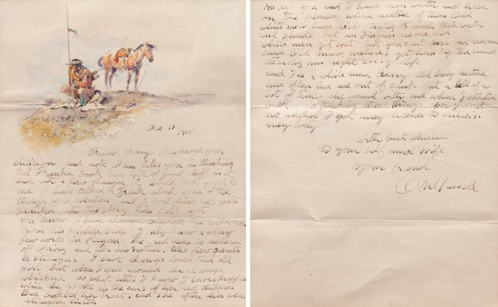 Charles Marion Russell (American, 1864-1926) Indian Scout and Horse, Illustrated Letter, 1918