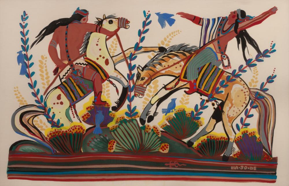 Narciso Abeyta, Ha-So-De (Dine, 1918-1998) Untitled (Men on Horseback)