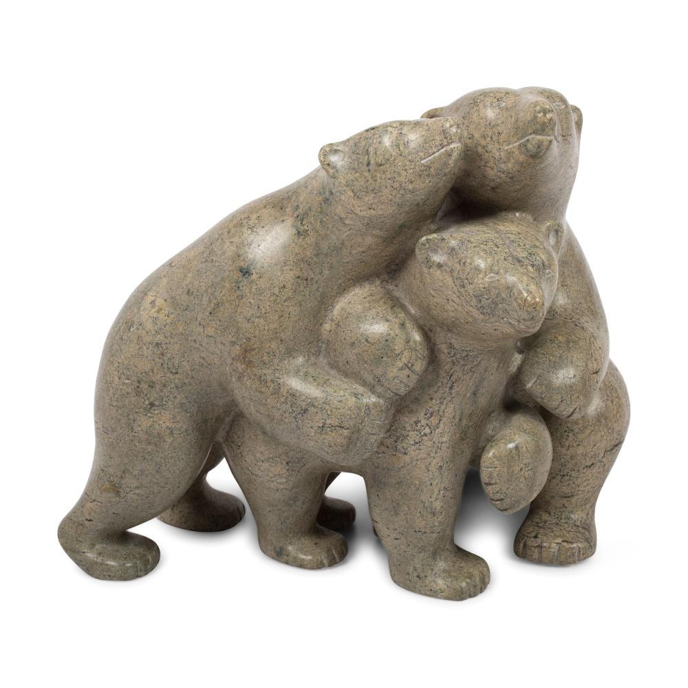 Taqialuq Nuna (Inuit, b. 1958) Soapstone Sculpture, Polar Bear Family