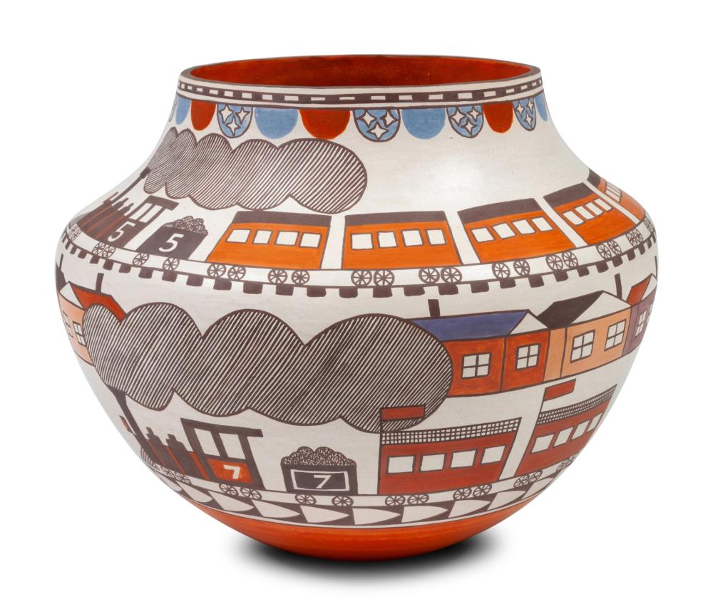 Barbara and Joseph Cerno (Acoma, b. 1951 and 1947) Polychrome Pottery Jar, with Trains, 2007