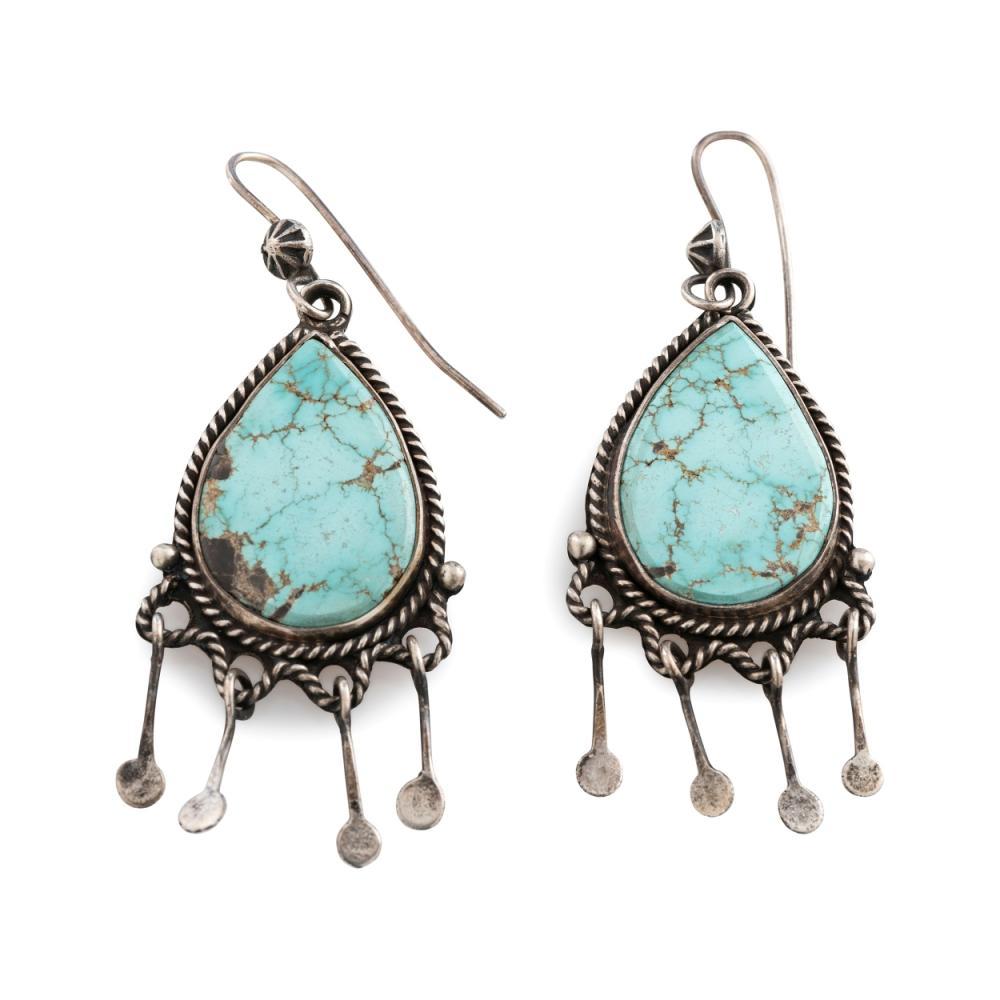 Liz Wallace (Dine / Washoe / Maidu, b. 1975) Silver and Turquoise Hook Earrings