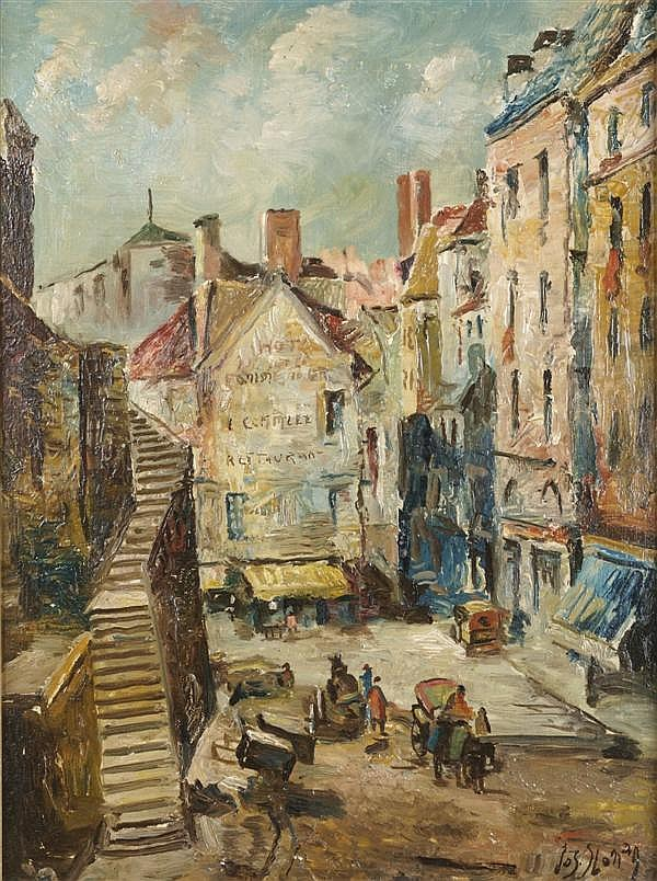 Joseph Sloman, (American, b. 1883), St. Malo, France and Marketplace in Chartes (a pair)