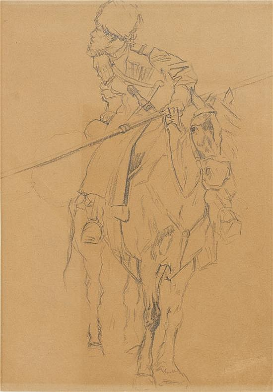 Adolf Schreyer, (German, 1828-1899), Equestrian Soldier