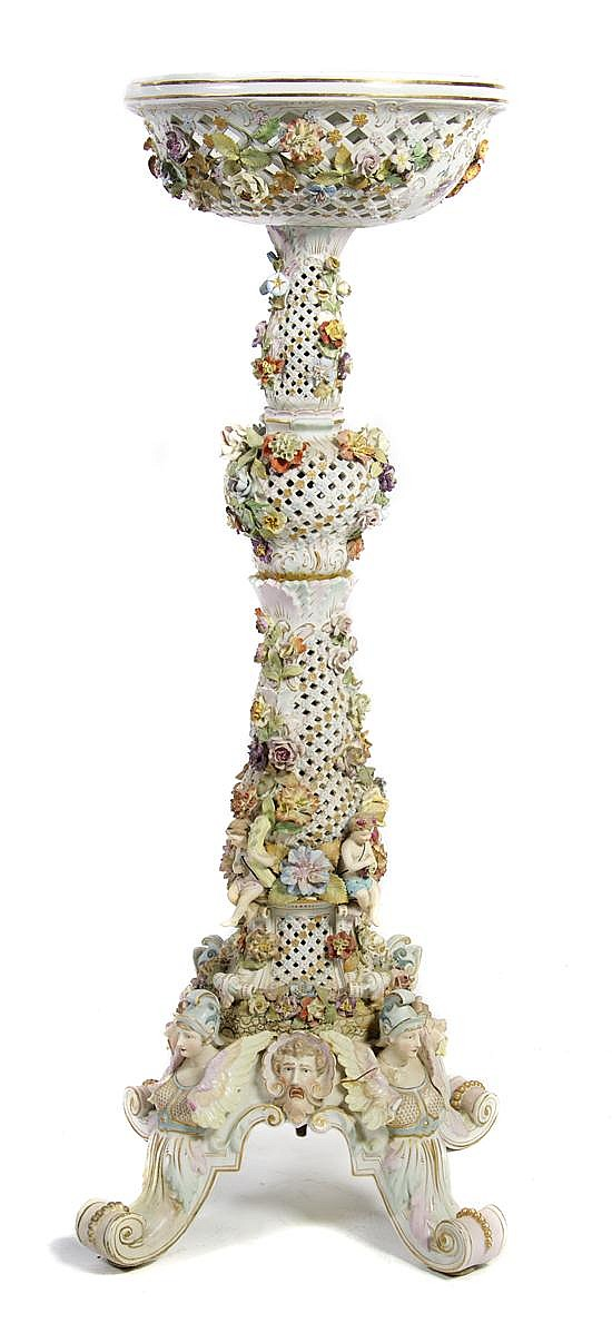 A Continental Porcelain Jardiniere, Carl Thieme, Height 42 inches.