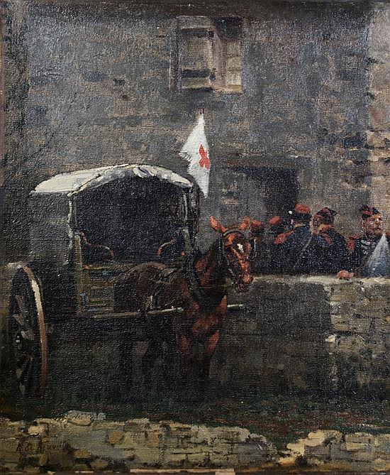 Alphonse Marie de Neuville, (French, 1835-1885), Soldiers Near a Hospital