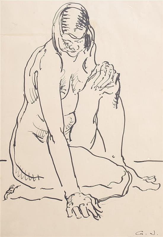 George Josimovich, (American, 1894-1986), Untitled (Kneeling Nude), circa 1935