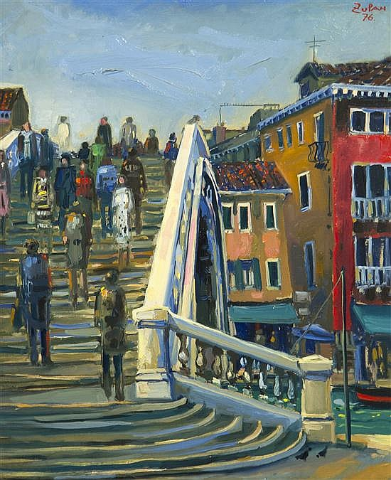 Bruno Zupan, (American, b. 1939), Bridge in Venice, 1976