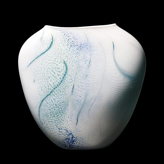 *A Blown Glass Vase, William Morris, Height 18 inches.