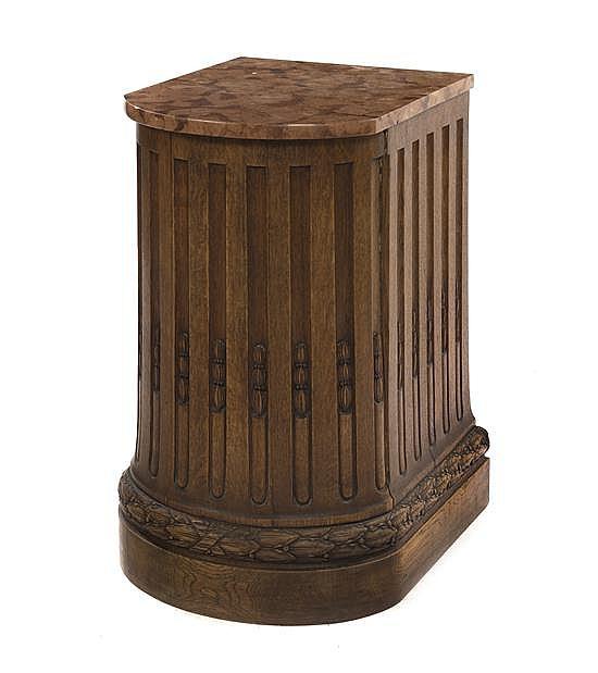 A Continental Oak Pedestal, Height 28 x width 18 x depth 19 1/4 inches.