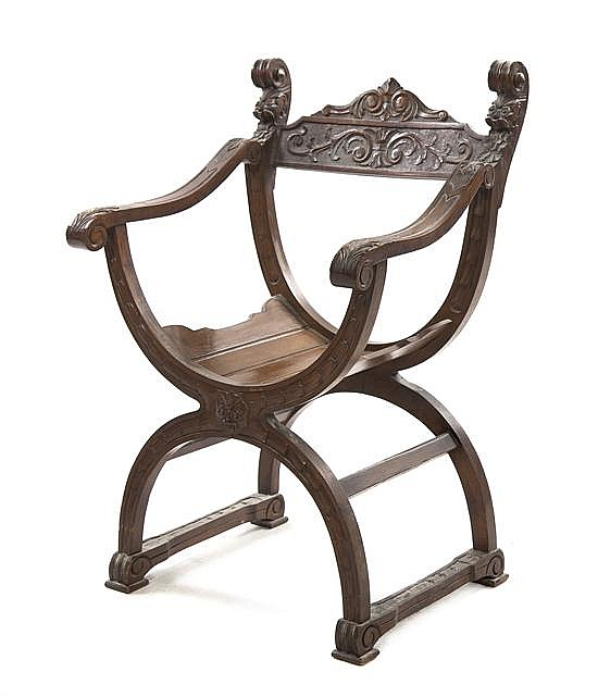 * A Curule Form Savonarola Mahogany Chair, Height 32 inches.