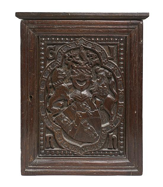 * A Renaissance Revival Carved Oak Cabinet, Height 15 x width 12 x depth 5 1/2 inches.