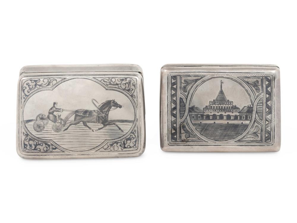 Two Russian Niello Silver Cigarette Cases