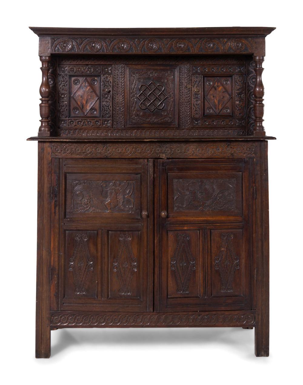 A Jacobean Style Oak Court Cupboard