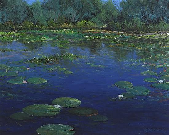 Thomas deDecker, (American, b. 1951), Lilies and Flowers-Blue Pond