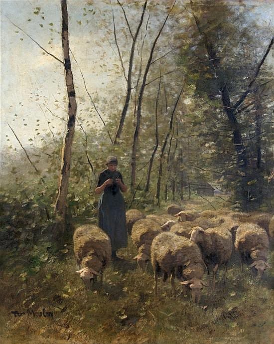 Francois Pieter ter Meulen, (Dutch, 1843-1927), Shepherdess and Flock