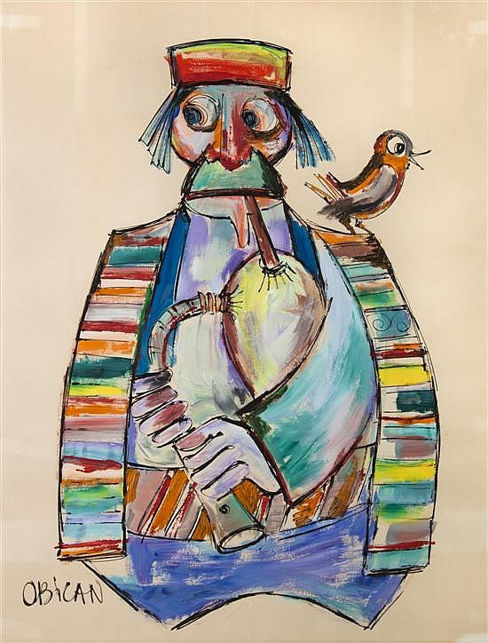 *Jovan Obican, (French, 1918-1986), Man with Bagpipe