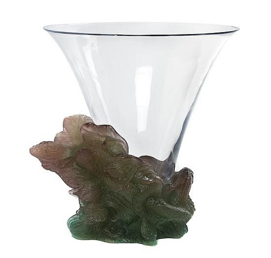 * A Daum Glass and Pate-de-Verre Glass Vase, Height overall 11 5/8 inches.