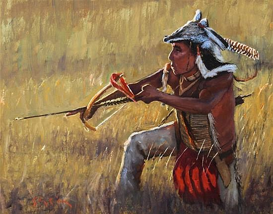 John C. Gawne, (American, b. 1952), Indian with Bow