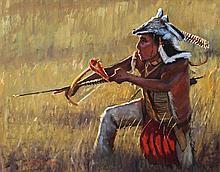 John C. Gawne, (American, b. 1952), Indian with Bow