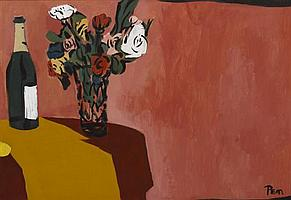 Rudolph T. Pen, (American, 1918-1989), Still Life with Bottle and Flowers
