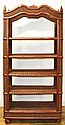 A Victorian Style Wicker Bookcase, Height 79 1/2 x width 39 1/4 x depth 18 inches.