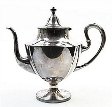An American Silver-Plate Teapot, Pairpoint Mfg. Co., New Bedford, MA, Circa 1900, Height 9 1/4 inches.