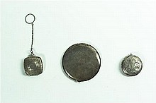 A Silver Compact and Two Silver Pill Boxes. Diameter of compact 3 1/2 inches.