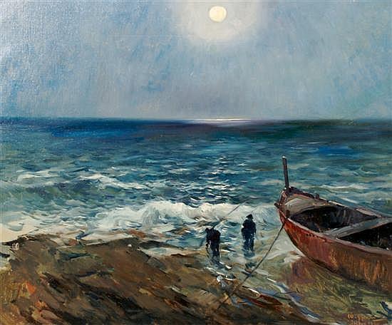 Matteo Sarno, (Italian, 1894-195), Fishing the Shore