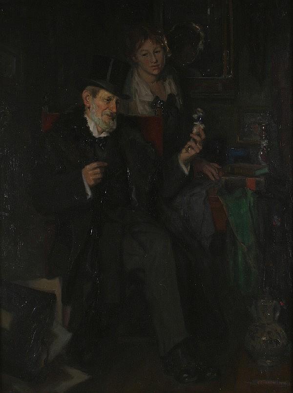 Karl Gussow, (German, 1843-1907), An Interior Scene