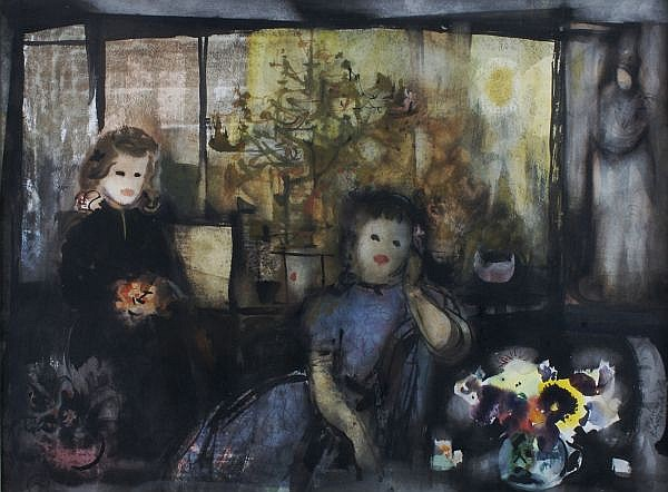 Rainey Bennett, (American, b. 1907), Two Girls in an Interior