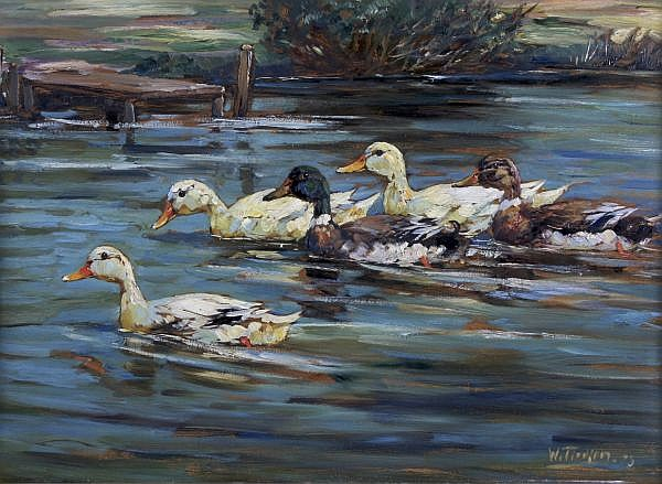 Willy Tiedjen, (German, 1881-1950), Ducks on Water