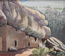 Fritiof Persson, (Swedish/American, 1897-1957), Cliff Houses in Walnut Canyon, Arizona and Landscape depicting a Ute