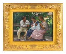 Nicholas B. Haritonoff (Russian, 1880-1944) Untitled (Three Figures on a Bench)