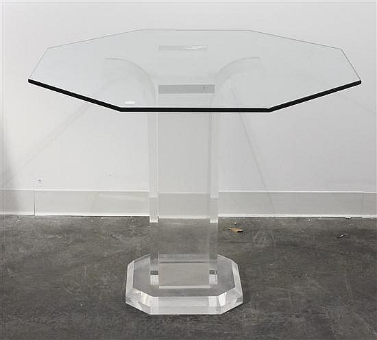 * A Lucite and Glass Center Table, Height 28 1/2 inches.