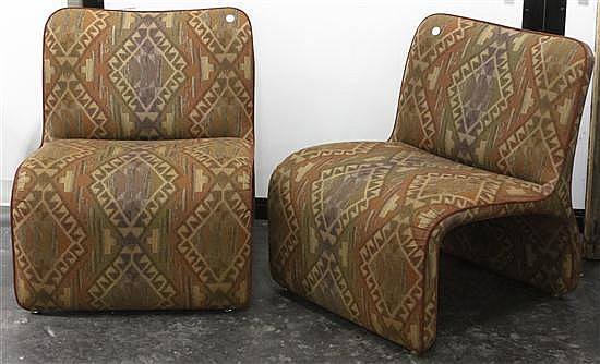 * A Pair of Contemporary Upholstered Low Chairs, Design Studio, Height 30 inches.