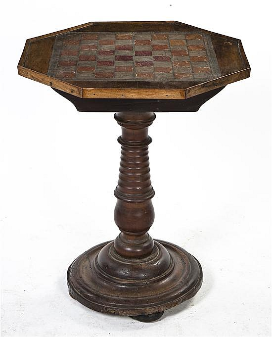 A Continental Mahogany Games Table, Height 24 1/2 inches.