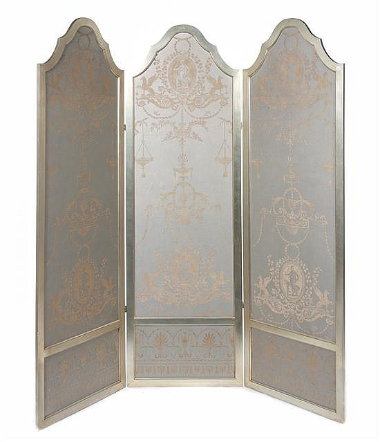 A Silvered Three-Panel Floor Screen, Height 84 x width 27 inches (each).