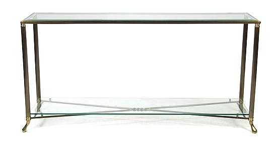 A Brass and Glass Console Table, Height 29 x width 59 x depth 15 5/8 inches.