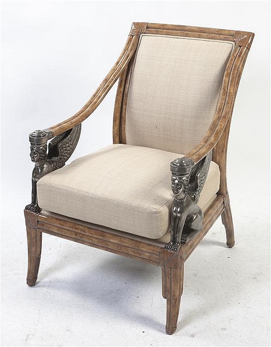 * An Egyptian Revival Style Bamboo Armchair, Height 39 inches.