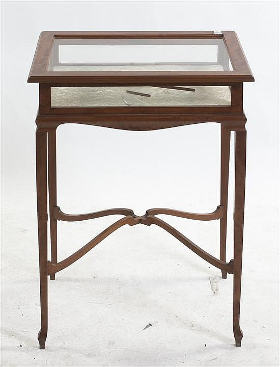 Louis XVI Style Satinwood Vitrine Table, Height 29 x width 22 x depth 15 1/2 inches.