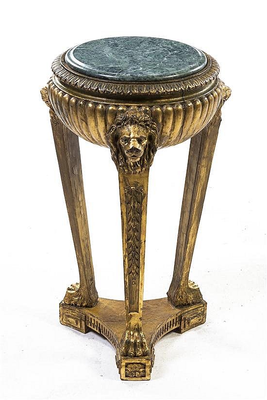 * An Empire Style Giltwood Occasional Table, Height 25 1/2 x diameter 17 1/2 inches.