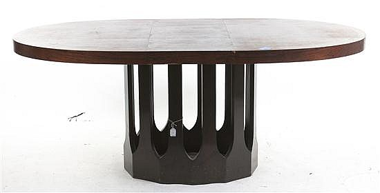 An American Extension Dining Table, Height 29 x width 54 x depth 42 1/2 inches (closed).
