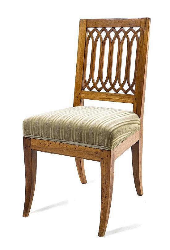 * A Biedermeier Fruitwood Side Chair, Height 35 1/2 inches.
